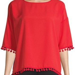 French Connection NEW red crepe light top Large